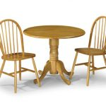Julian Bowen Dundee 90cm Honey Pine Drop Leaf Round Dining Table And 2