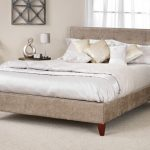 Serene Chelsea Super King Size Fudge Fabric Bed Frame With Mahogany Fe