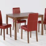 Lpd Brompton 117cm American Walnut Medium Dining Table And 4 Red Faux