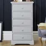 Birlea Assembled Suffolk Dove Grey 5 Drawer Narrow Chest Of Drawers