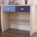 Gfw Flat Packed Sydney Maple And Blue 2 Drawer Desk