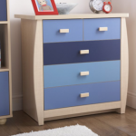 Gfw Sydney Flat Packed Maple And Blue 3+2 Chest Of Drawers