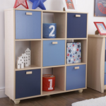 Gfw Sydney Flat Packed Maple And Blue 3 X 3 Cube Storage Unit