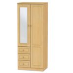 Welcome Assembled 2ft 6 Pembroke Beech 2 Door 3 Drawer Mirrored Double