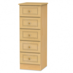 Welcome Assembled Pembroke Beech 5 Drawer Tall Narrow Chest Of Drawers