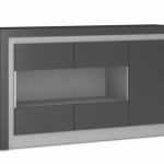 Furniture To Go Flat Packed Lyon Platinum Gloss And Grey Gloss 3 Door