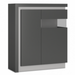 Furniture To Go Flat Packed Lyon Platinum Gloss And Grey Gloss 2 Door