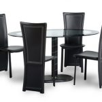 Seconique Cameo 150cm Glass Oval Dining Table And 4 Chairs Set