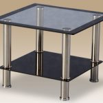 Seconique Flat Packed Harlequin Black Glass Lamp Table