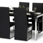 Julian Bowen Tempo 150cm Black Glass Dining Table And 4 Black Faux Lea