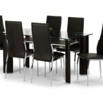 Julian Bowen Boston 150cm Glass Dining Table And 6 Brown Faux Leather