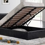 Birlea 4ft Berlin Small Double Black Faux Leather Ottoman Bed Frame