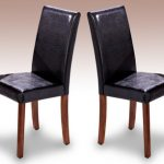 Lpd Ashleigh Set Of 2 Black Faux Leather And Walnut Dining Chairs