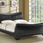 Time Living Wave Double Black Faux Leather Bed Frame