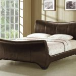 Time Living Wave Double Brown Faux Leather Bed Frame