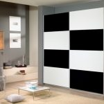 Rauch Quadra Alpine White With Black Glass 2 Sliding Door Double Wardr