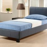 Time Living Hamburg Single Grey Fabric Bed Frame