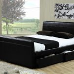 Time Living Houston King Size Black Faux Leather 4 Drawer Bed Frame
