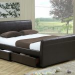 Time Living Houston King Size Brown Faux Leather 4 Drawer Bed Frame