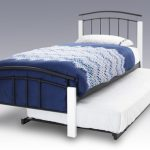Serene Tetras Black Metal And White Guest Bed Frame