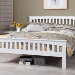 Serene Amelia Double Opal White Wooden Bed Frame