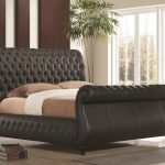 Time Living Swan King Size Black Leather Bed Frame