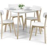 Julian Bowen Casa 50cm Square White And Limed Oak Dining Table And 4 C