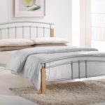Birlea Tetras Double Silver Metal And Beech Bed Frame