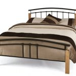 Serene Tetras Double Black Metal And Beech Bed Frame