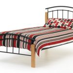 Serene Tetras Single Black Metal And Beech Bed Frame
