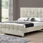Tgc Sansa King Size Oyster Crushed Velvet Glitz Fabric Bed Frame