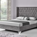Tgc Drogo Double Silver Chenille Fabric Bed Frame