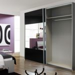 Rauch Quadra Black Glass And Mirrored 2 Sliding Door Double Wardrobe
