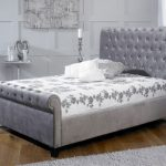 Limelight Orbit Double Silver Velvet Fabric Bed Frame