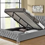 Tgc Arya Super King Size Silver Chenille Fabric Ottoman Bed Frame