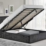 Birlea Berlin Double Black Crushed Velvet Glitz Fabric Ottoman Bed Fra