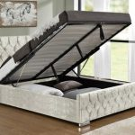 Tgc Arya Double Oyster Crushed Velvet Glitz Fabric Ottoman Bed Frame