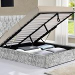 Tgc Drogo Double Silver Crushed Velvet Glitz Fabric Ottoman Bed Frame