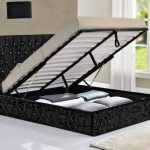 Tgc Drogo King Size Black Crushed Velvet Glitz Fabric Ottoman Bed Fram